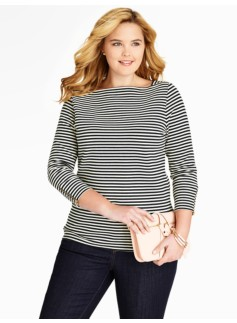 Stripe Zip-Sleeve Tee