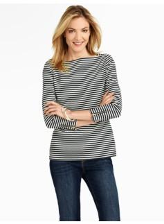 Stripe Zip-Sleeve Tee