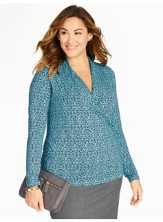 Surplice-Wrap Scroll Medallion Top