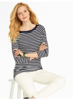 Stadium Stripes Bateau Neck Tee