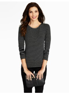 Heather Stripes Balletneck Tee