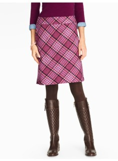 Windowpane Plaid A-Line Skirt