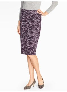 Ocelot-Print Pencil Skirt