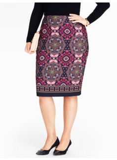 Medallion-Print Pencil Skirt