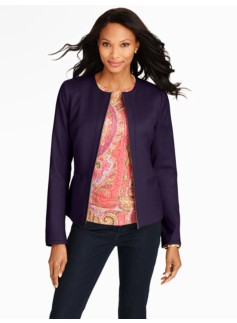 Italian Flannel Zip-Front Stretch Jacket