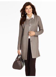 Long Herringbone Stripe Knit Jacket