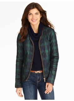 Quilted Plaid Coat