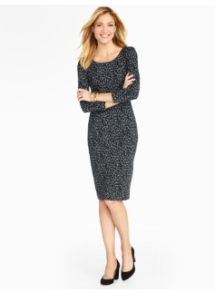 Back-Zip Animal-Print Ponte Dress