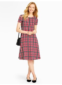 Modern Houndstooth Fit-and-Flare Dress