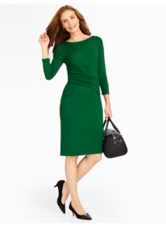 Side-Drape Platinum Jersey Knit Dress