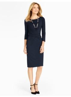 Side-Drape Platinum Jersey Knit Dress