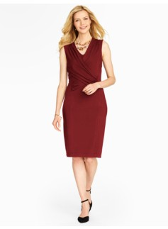 Wrap-Bodice Knit Dress