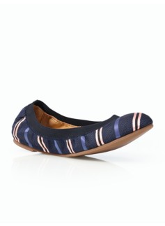 Rory Striped Elastic Ballet Flats