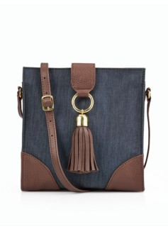 Denim & Leather Crossbody Bag