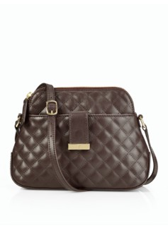 Quilt-Embossed Leather Crossbody Bag
