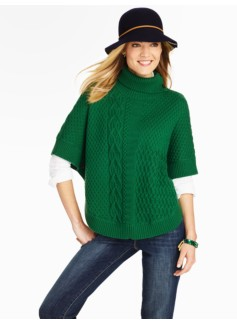 Mix-Stitched Turtleneck Poncho