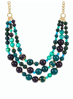 Mixed-Bead Triple-Stand Necklace