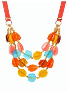 Bead Ribbon-Tie Necklace