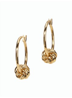 Gold Knot Hoop Earrings