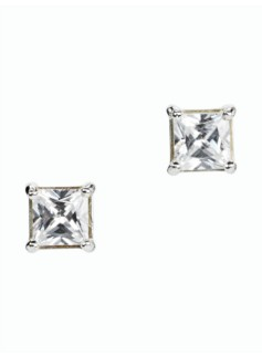 Square Diamond Sterling Silver Stud Earrings