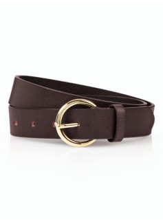 Woman Brass-Buckle Leather Belt