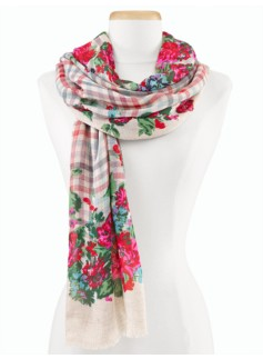 Flower & Plaid Scarf