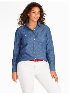 Dotted-Square Chambray Shirt