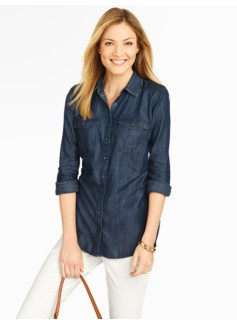 Patch-Pocket Denim Shirt - Dark Sea