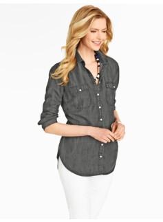 Tunic-Length Denim Shirt - Grey Wash