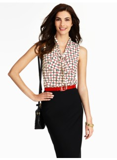 Dot & Dashes Scarf-Tie Blouse