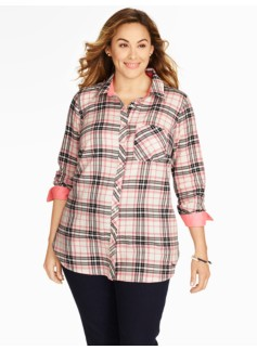 Sporty Plaid Tunic-Length Cotton Shirt