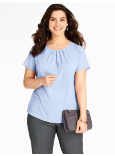 Pleat-Neck Blouse