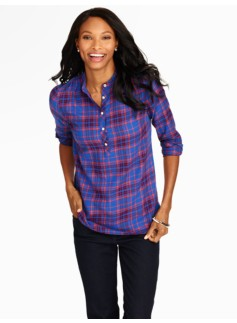 Sporty Plaid Band-Collar Cotton Henley