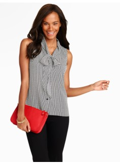 Diamond Crosshatch Scarf-Tie Blouse