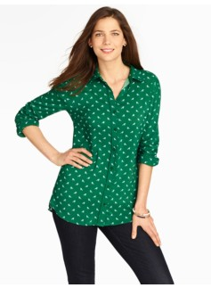 Robin Print Tunic Button-Down Shirt