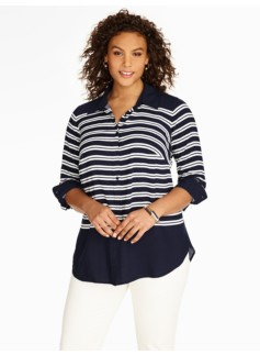 Striped Tunic Button-Down Shirt