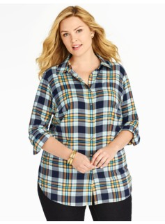 Classic Plaid Twill Long Casual Shirt