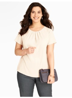Ivory Pleat-Neck Blouse