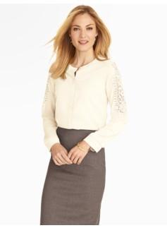 Ivory Lace-Sleeve Blouse