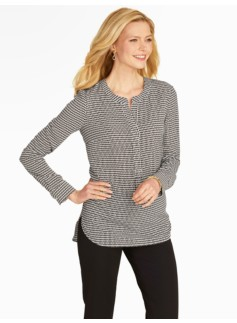 Diamond Crosshatch Popover Blouse