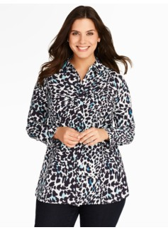 Animal Print Button-Front Shirt