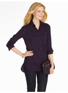 Dot-on-Dot Tunic Button-Down Shirt
