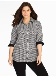 Gingham Checks Tunic-Length Cotton Shirt