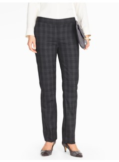 Tartan Shadow-Plaid Straight-Leg Pant