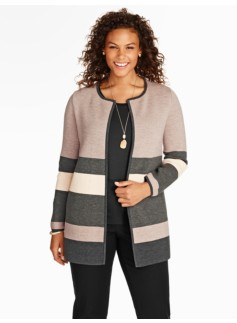Blocked-Stripe Sweater Jacket
