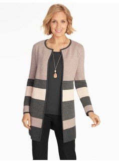 Blocked-Stripe Sweater Jacket