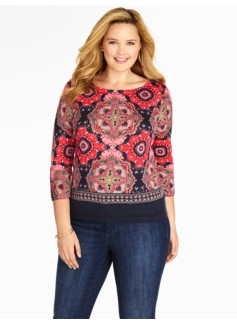Medallion-Print Merino Sweater