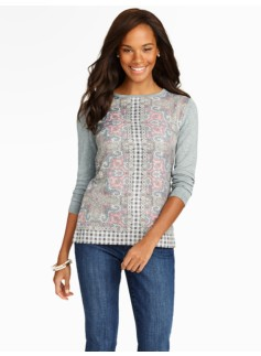 Scroll Paisley & Woven-Inset Sweater