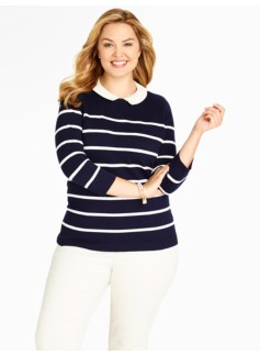 Woven-Collar Breton Stripe Sweater