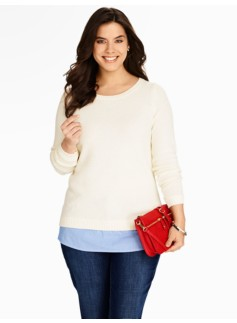 Woven-Shirttail Hem Sweater